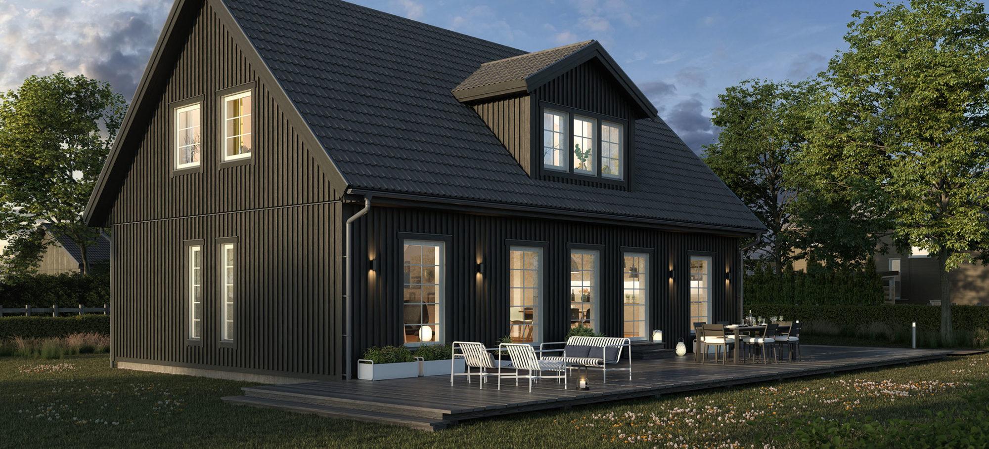 Nya Solid 168 med svart tak och svart fasad. Takkupa på baksidan.