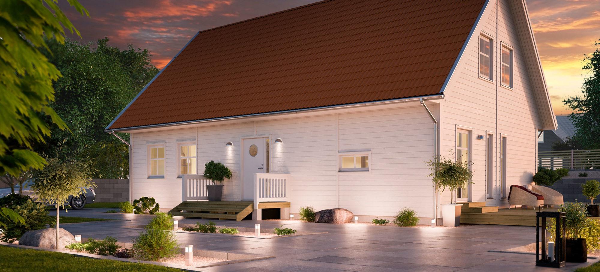 1,5-planshus i skymning. Vit liggande faspanel och rött tak.