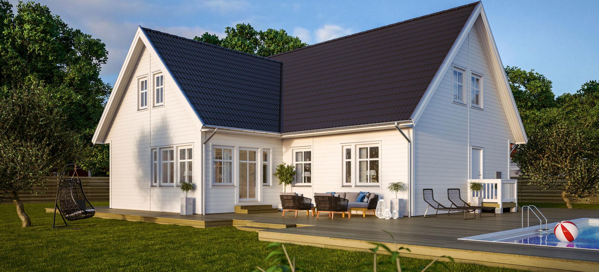1,5-planshus i vinkel. Vit fasad och svart tak.
