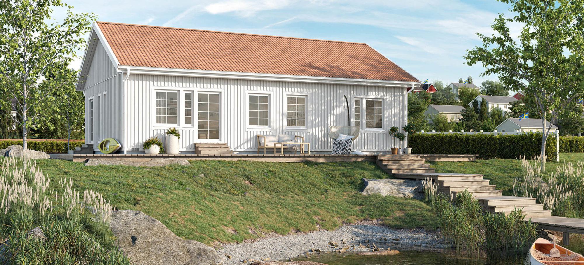Enplanshus beläget vid vatten. Vit fasad och rött tak.