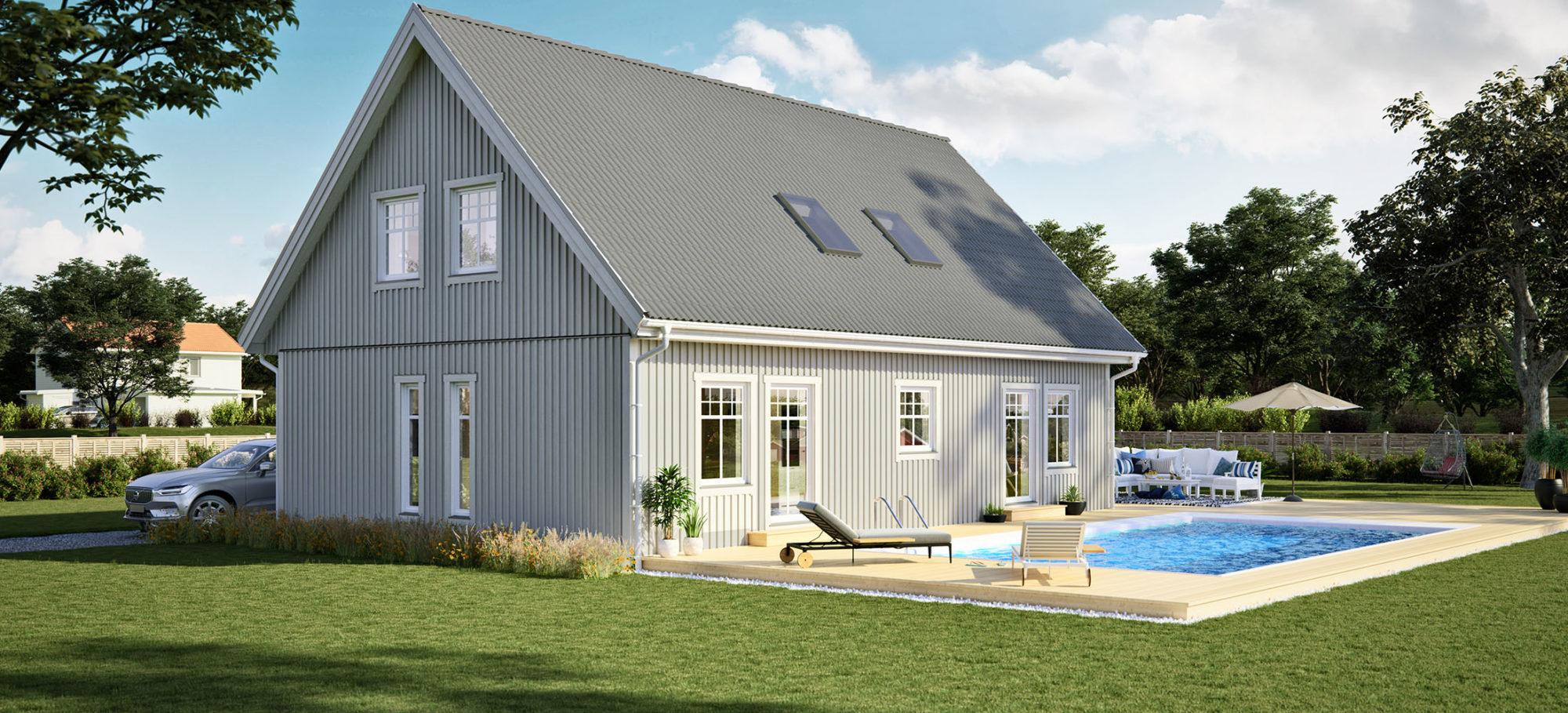 Bild på husmodellen Sol 168 - grå fasad och grått tak