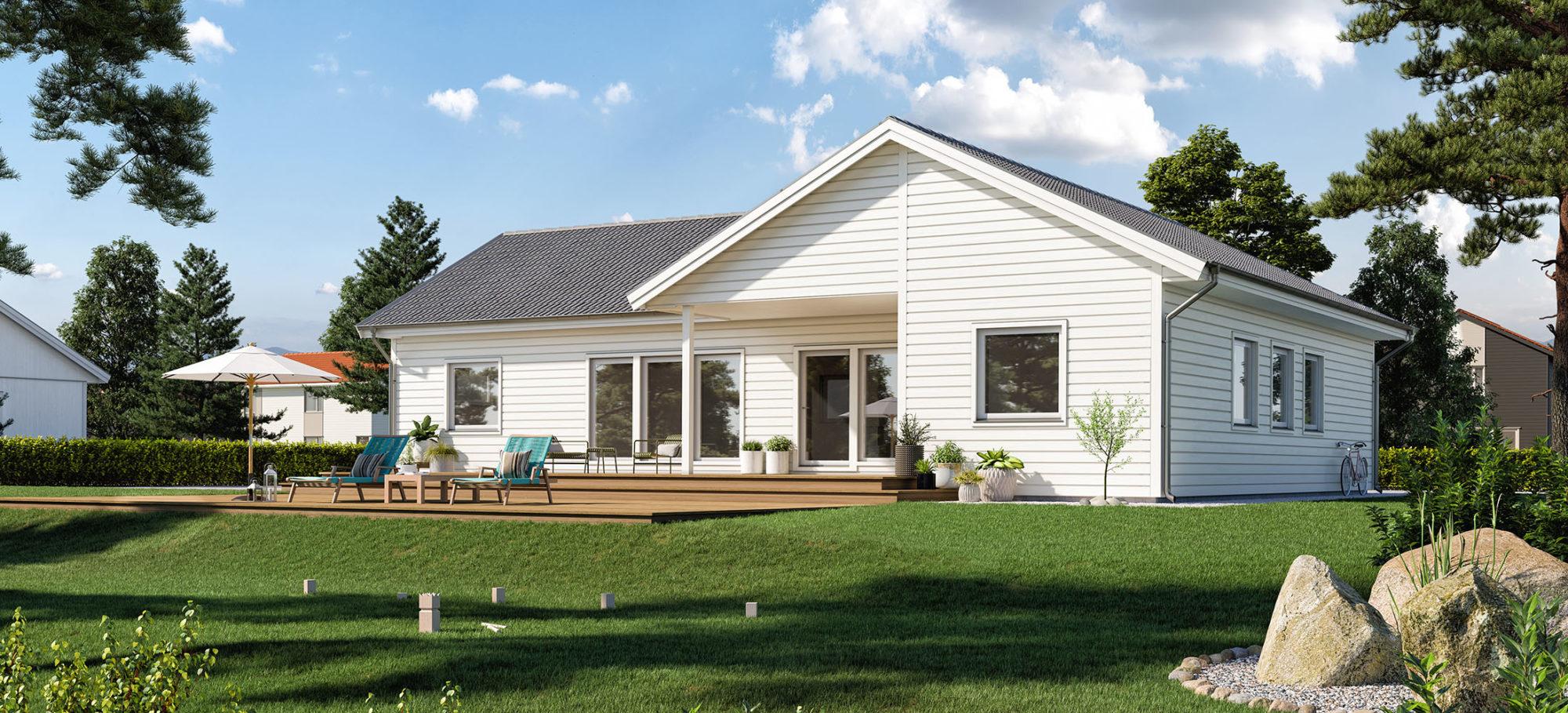 Enplanshus med vinkel. Liggande vit faspanel och svart tak.